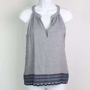 Olive + Oak blue sleeveless halter top embroidered